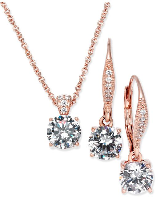 Danori - Metallic Rose Gold-tone Cubic Zirconia Solitaire Pendant Necklace And Matching Drop Earrings Set - Lyst