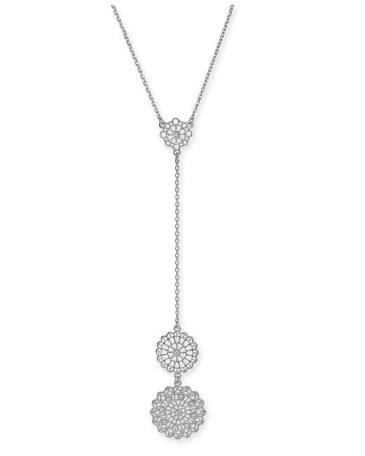 INC International Concepts - Metallic Silver-tone Crystal Filigree Disc Lariat Necklace, Created For Macy's - Lyst