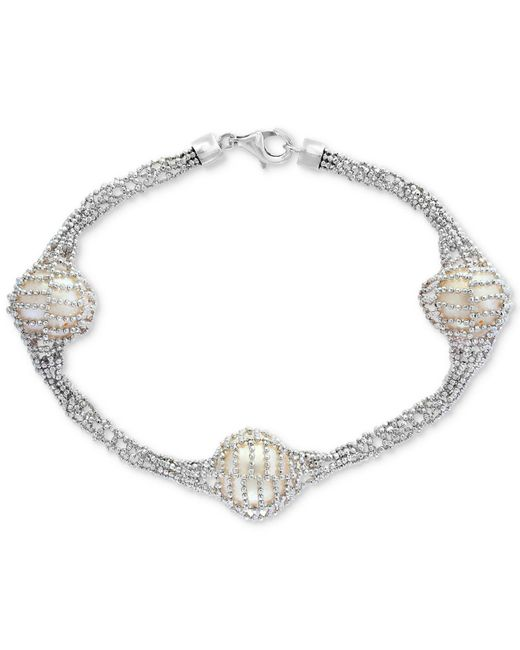 Effy Collection - Metallic Cultured Freshwater Pearl (12mm) Caged Bracelet In Sterling Silver - Lyst