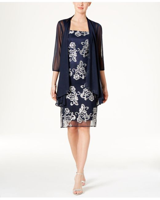 R & M Richards | Blue Floral-print Jacket Dress | Lyst