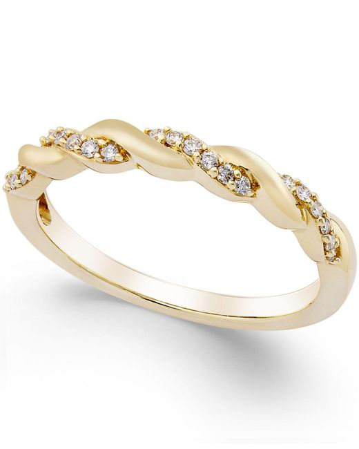 Macy's - Pink Diamond Twisted Band (1/8 Ct. T.w.) In 14k Gold - Lyst