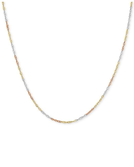 Macy's - Metallic Tri-color Singapore Chain Collar Necklace In 14k Gold, White Gold & Rose Gold - Lyst