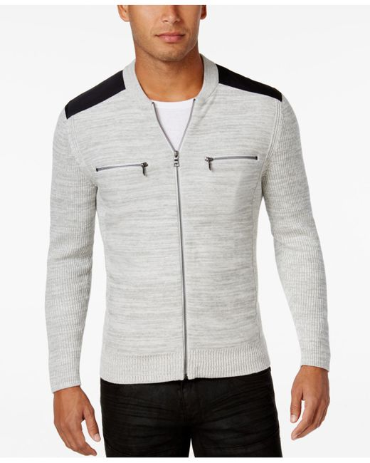 INC International Concepts | Gray Men's Manchester Heathered Mixed Media Sweater for Men | Lyst