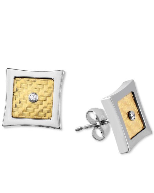 Macy's - Metallic Men's Diamond Accent Stud Earrings In 18k Gold And Stainless Steel - Lyst