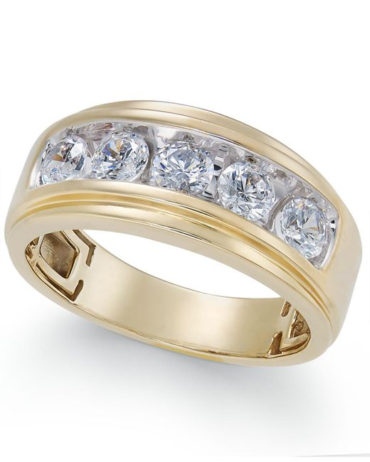 Macy's | Metallic Men's Diamond Five-stone Ring (1-1/2 Ct. T.w.) In 10k Gold | Lyst