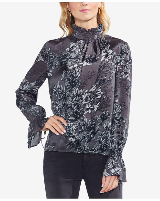 Vince Camuto - Multicolor Printed Mock-neck Bell-sleeve Top - Lyst