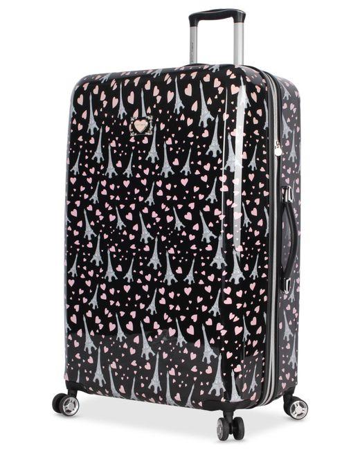 "Betsey Johnson - Black Paris Love 30"" Hardside Spinner Suitcase - Lyst"