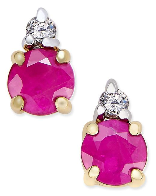 Macy's - Pink Ruby (5/8 Ct. T.w.) And Diamond Accent Stud Earrings In 14k Gold And 14k White Gold Accents - Lyst