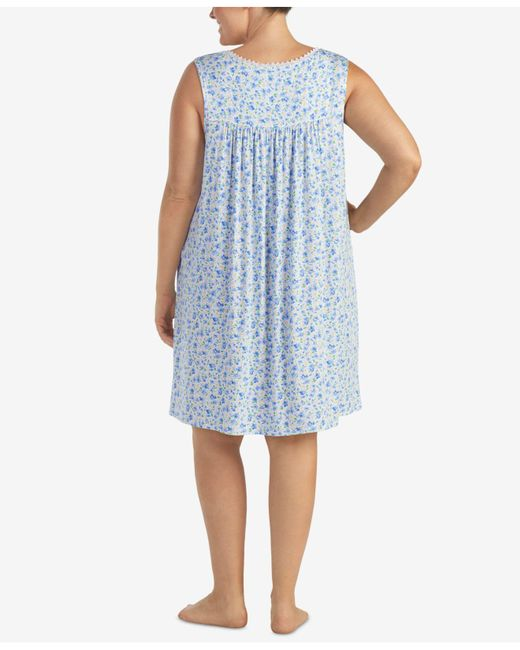 0477fa014b ... Eileen West - Blue Plus Size Lace-trimmed Printed Knit Nightgown - Lyst  ...