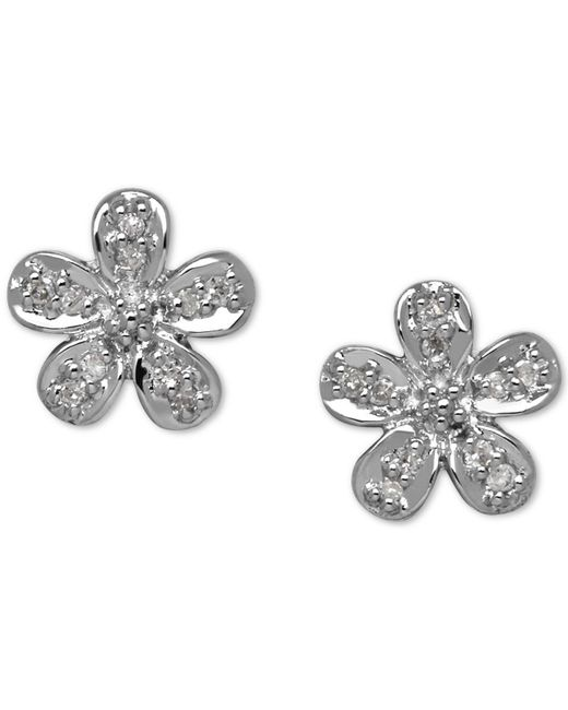 Macy's - Metallic Diamond Accent Flower Stud Earrings In 10k Gold - Lyst