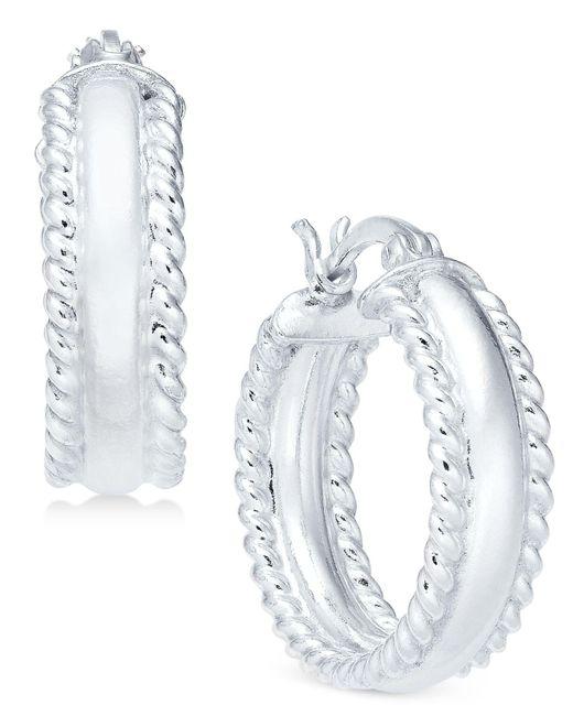 Giani Bernini - Metallic Polished Rope Edge Hoop Earrings In Sterling Silver - Lyst