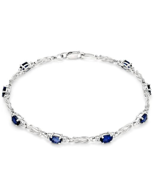 Macy's - Metallic Sapphire (2-1/2 Ct. T.w.) And Diamond (1/10 Ct. T.w.) Link Bracelet In 14k White Gold - Lyst