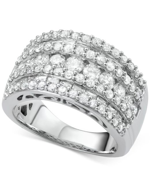 Macy's | Metallic Five-row Diamond Band (3 Ct. T.w.) In 14k White Gold | Lyst