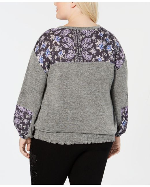 4eac62a0167ba ... Created For Style   Co. - Gray Plus Size Paisley-print Peasant Top