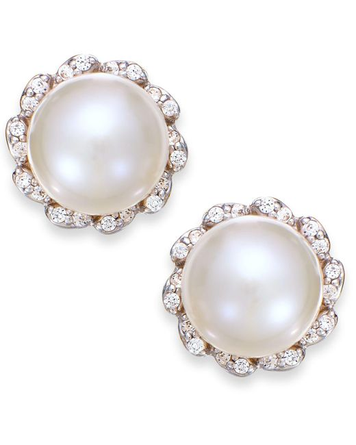 Macy's - White Cultured Freshwater Pearl (7mm) And Diamond (1/8 Ct. T.w.) Earrings In 14k Gold - Lyst
