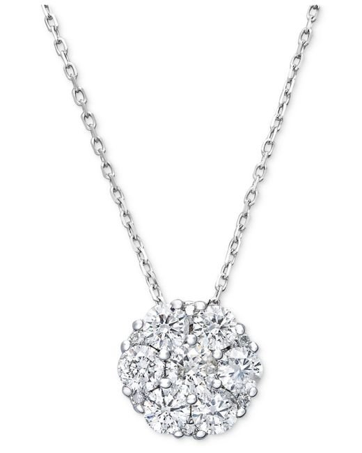 Macy's | Diamond Flower Cluster Pendant Necklace In 14k White Gold (1/2 Ct. T.w.) | Lyst