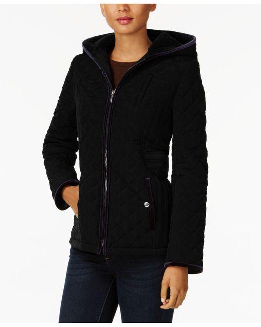 Laundry by Shelli Segal | Black Petite Velvet-trim Quilted Coat | Lyst