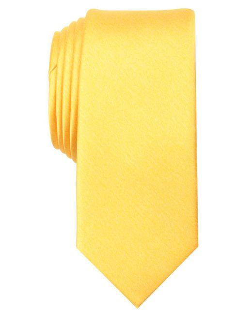 Original Penguin - Yellow Larsson Solid Skinny Tie for Men - Lyst