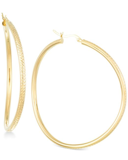 Macy's | Metallic Wavy Round Hoop Earrings In 18k Vermeil Over Sterling Silver | Lyst