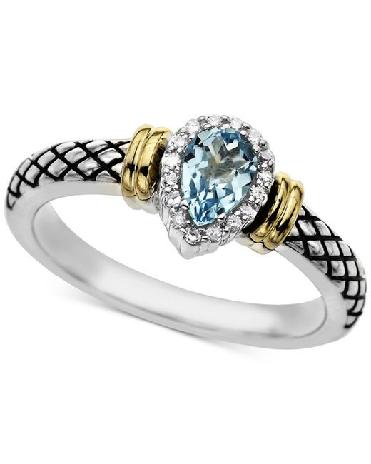 Macy's | Swiss Blue Topaz (1/2 Ct. T.w.) & Diamond Accent Ring In Sterling Silver | Lyst