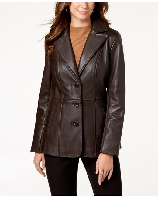 Jones New York - Brown V-stitched Leather Jacket - Lyst