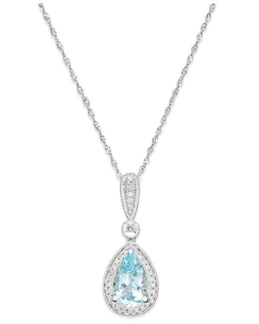 Arabella - Blue Aquamarine (1 Ct. T.w.) And Diamond (1/10 Ct. T.w.) Pendant Necklace In 14k White Gold - Lyst