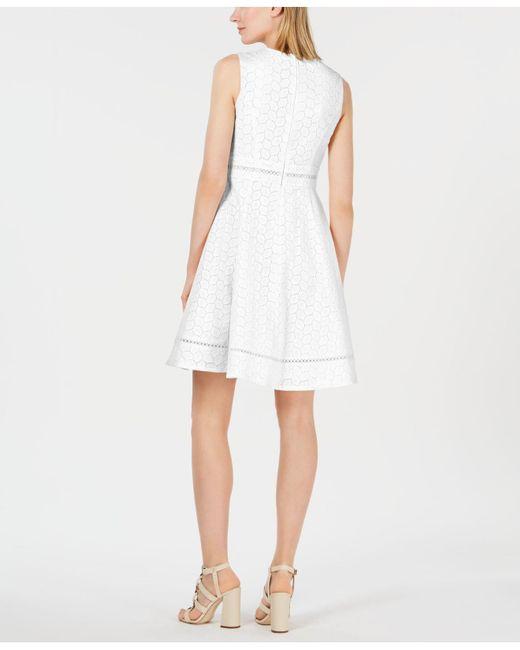 304d1e9e85 ... Lyst Calvin Klein - White Eyelet Fit   Flare Dress ...