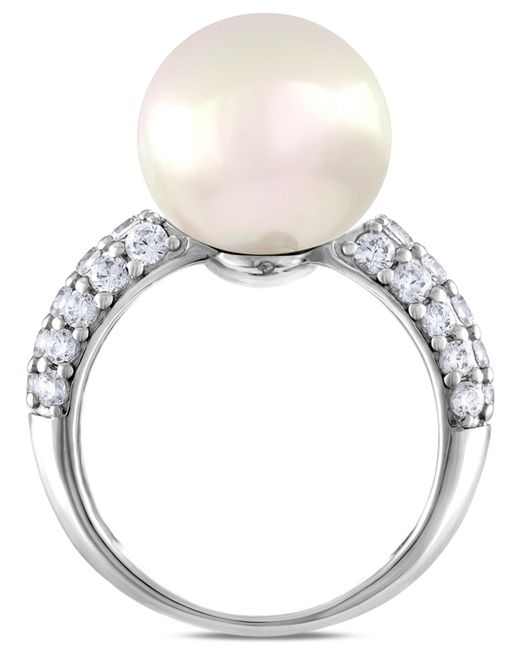 Majorica - Metallic Sterling Silver Cubic Zirconia & Imitation Pearl Ring - Lyst