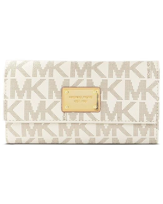 Michael Kors | White Michael Mk Logo Checkbook Wallet | Lyst