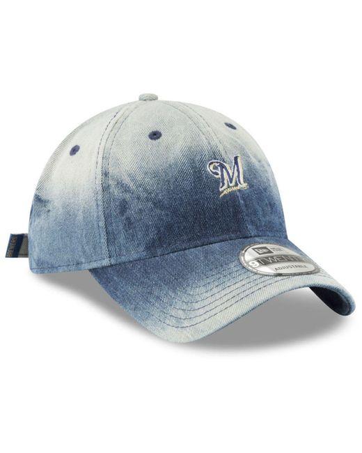 new concept e9e47 509a3 ... KTZ - Blue Milwaukee Brewers Denim Wash Out 9twenty Cap for Men - Lyst  ...