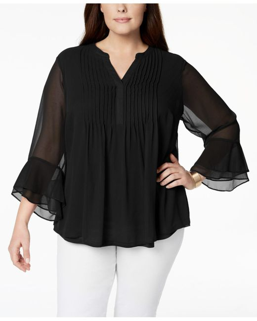 Charter Club - Black Plus Size Pintucked Tunic, Created For Macy's - Lyst
