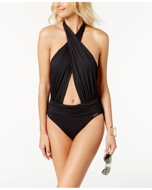 Vince Camuto | Black Riviera Convertible Halter One-piece Swimsuit | Lyst