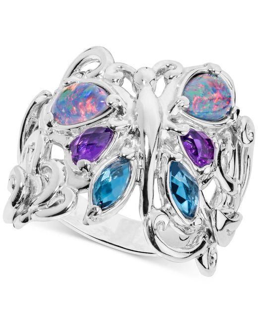 Carolyn Pollack - Metallic Multi-gemstone Butterfly Statement Ring (2-1/5 Ct. T.w.) In Sterling Silver - Lyst