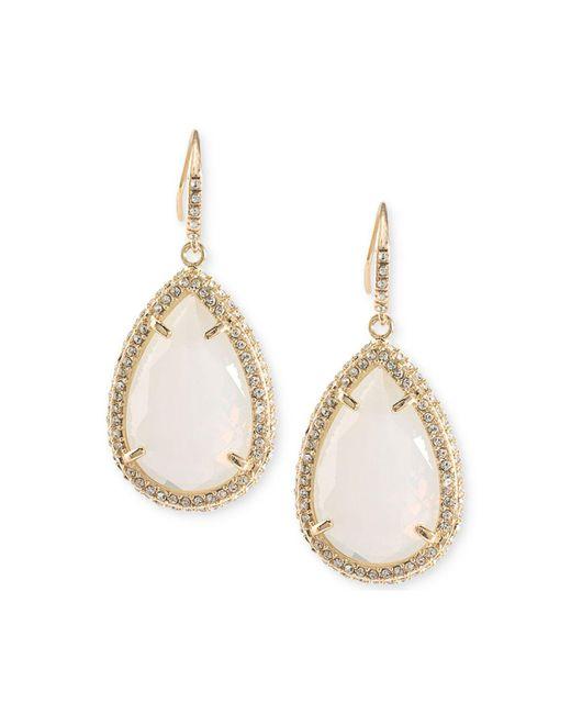 ABS By Allen Schwartz | Gold-tone Pavé & White Stone Drop Earrings | Lyst