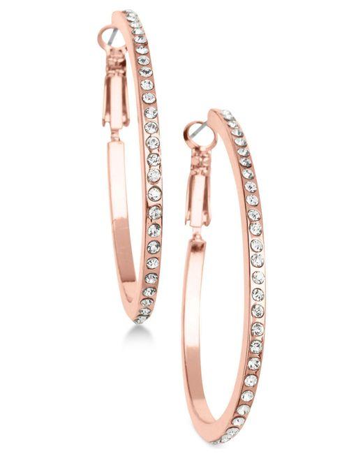 Guess - Metallic Rose Gold-tone Crystal Hoop Earrings - Lyst