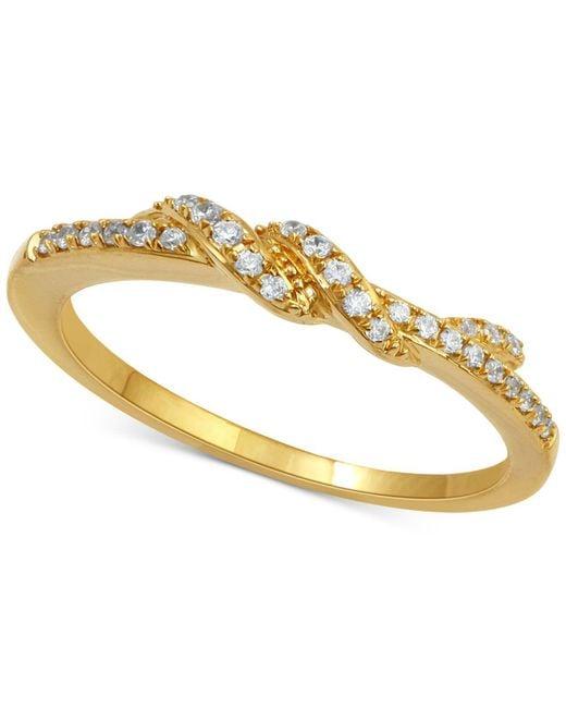 Macy's | Metallic Diamond Twist Ring (1/7 Ct. T.w.) In 14k Rose Gold | Lyst