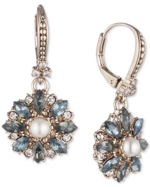 Marchesa - Metallic Gold-tone Crystal, Stone & Imitation Pearl Drop Earrings - Lyst
