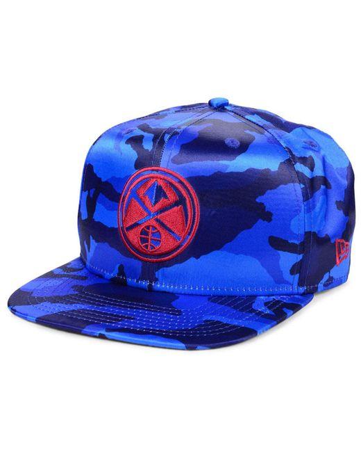 new styles 5ead6 cc888 KTZ - Blue Denver Nuggets Satin Camo 9fifty Cap for Men - Lyst ...