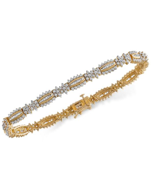Wrapped in Love - Metallic Tm Diamond Link Bracelet (3 Ct. T.w.) In 14k Gold, Created For Macy's - Lyst