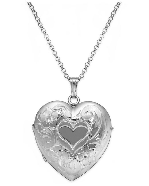 Macy's | Metallic Embossed Four-picture Heart Locket In Sterling Silver | Lyst