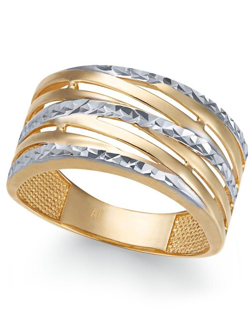 Macy's - Metallic Textured Statement Ring In 14k Gold & White Gold - Lyst