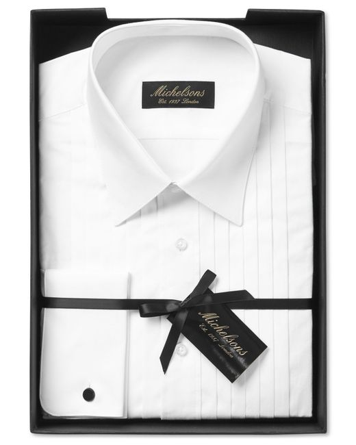 Michelsons Of London Classic Fit Pleated Point Collar
