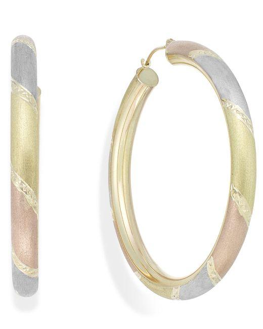Macy's - Metallic Tri-tone Diamond-cut Hoop Earrings In 14k Gold - Lyst
