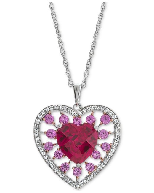 Macy's - Pink Lab-created Multi-gemstone (2 Ct. T.w.) Heart Pendant Necklace In Sterling Silver - Lyst