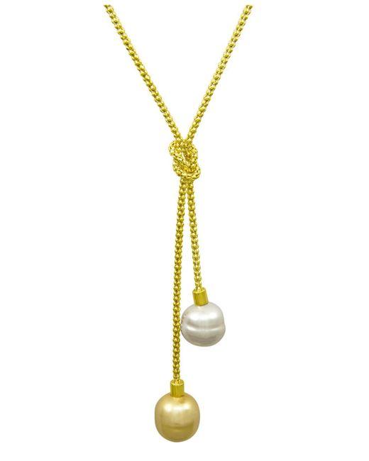 Majorica | Metallic Necklace, Organic Man-made Baroque Pearl Love Knot Lariat | Lyst