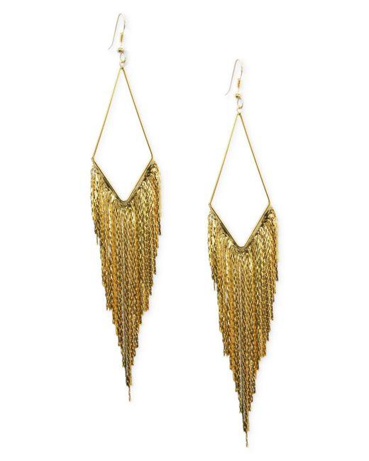 Guess - Metallic Earrings, Gold-tone Kite Gypsy Chain Drop Earrings - Lyst