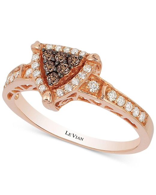 Lyst Le vian Chocolate And Vanilla Diamond Triangle Ring 1 3 Ct