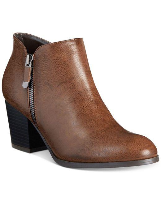 Style & Co. - Brown Masrinaa Block-heel Ankle Booties - Lyst