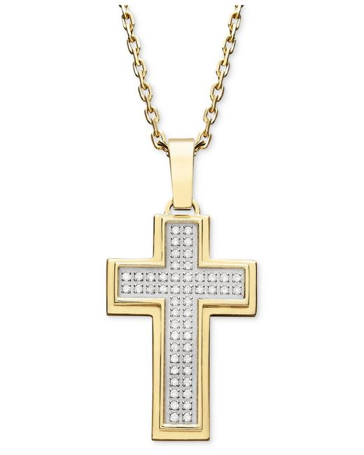 Macy's   Metallic Men's Diamond Cross Pendant Necklace In Gold Ion-plated Stainless Steel (1/4 Ct. T.w.) for Men   Lyst