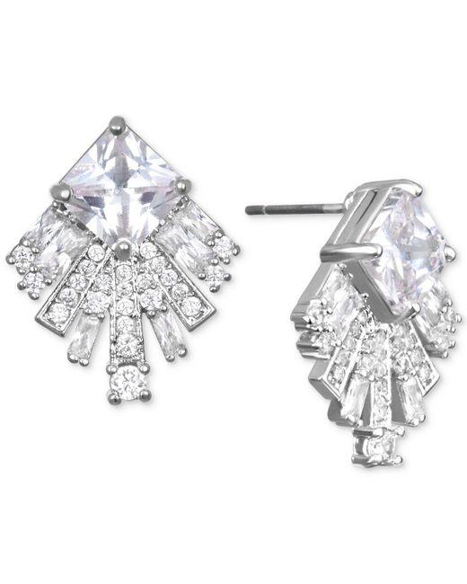 Badgley Mischka - Metallic Square Crystal Fan Drop Earrings - Lyst